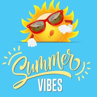 Summer vibes seasonal greeting with joyful cartoon sun in sunglasses