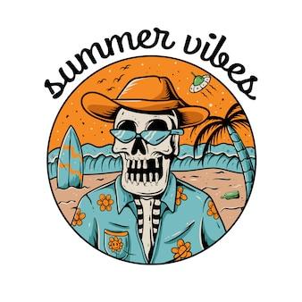 Summer vibes skeleton illustration. skull wearing hawaiian shirt