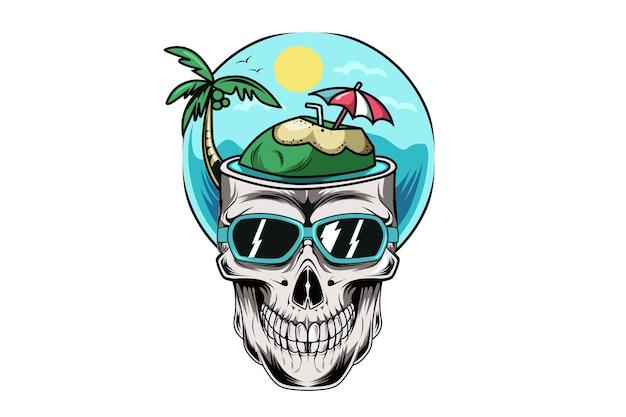 夏の雰囲気の頭蓋骨手描きイラスト