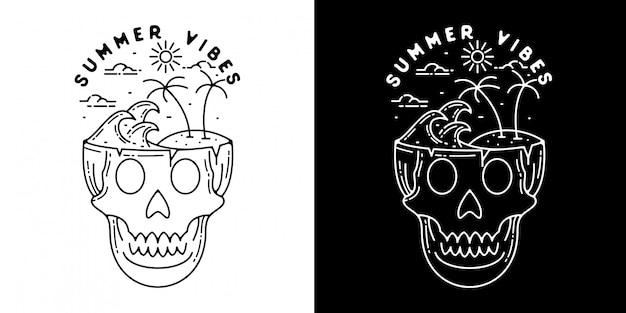 Летом vibes череп монолайн дизайн