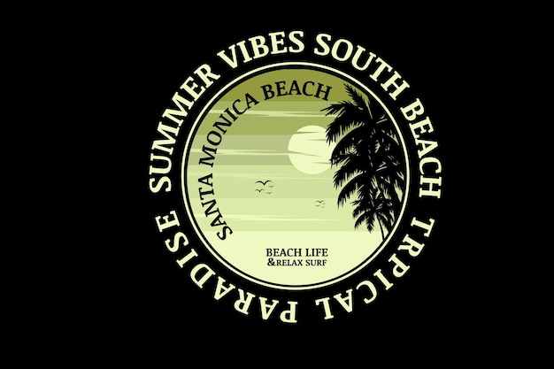 Summer vibes south beach tropical paradise color green gradient