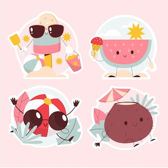 Summer vibes stickers set