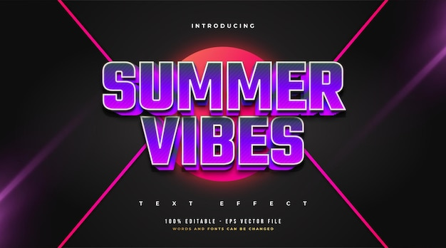 Summer vibes text in bold purple with 3d embossed effect. editable text style effect