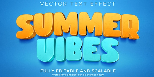 Summer vibes text effect, editable cartoon and beach text style