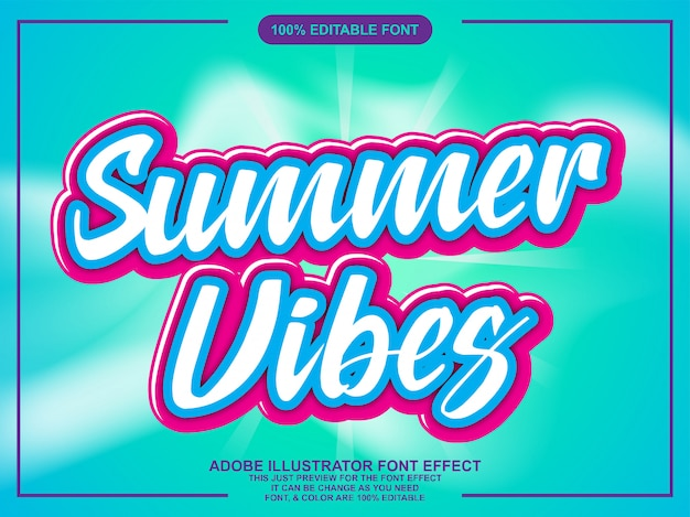 Summer vibes text with trendy modern font effect