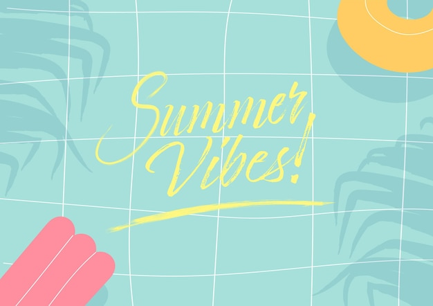 Summer vibes on tropical summer swimming pool background.