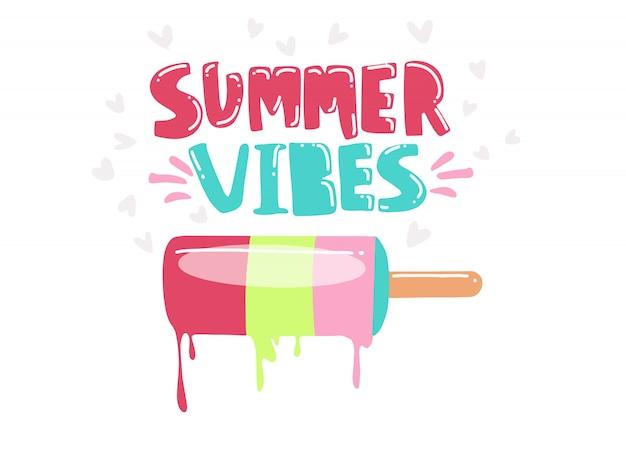 Векторная иллюстрация: рукописный шрифт из состава summer vibes с рисованной мороженого