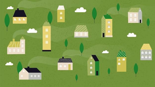 Летний деревенский пейзаж. симпатичные крошечные домики, сельский фон панорамы. район или пригород, здания в лесу векторные иллюстрации. пейзажный дом, летний сельский пейзаж