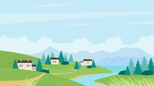 Summer village near river landscape summertime natural panorama background