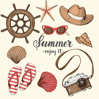 Summer vintage background with hand drawn summer objects and symbols. sketch, lettering.