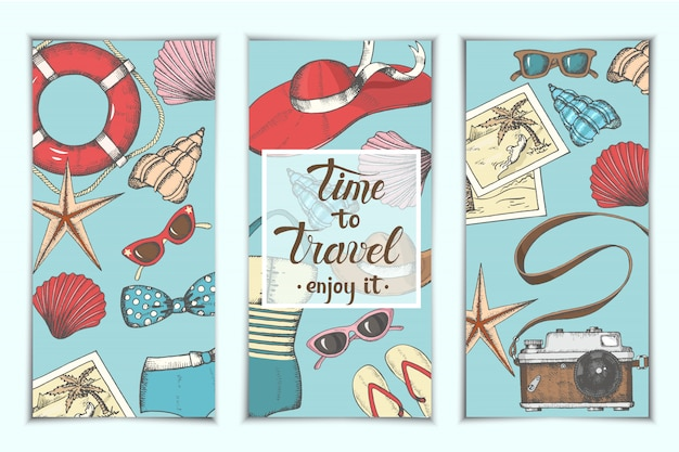 Summer vintage backgrounds with hand drawn symbols and objects