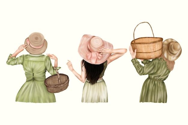 Летние старинные дачные девушки со шляпами и корзинами