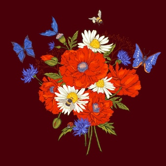 Summer vintage floral bouquet. greeting card with blooming red poppies chamomile ladybird daisies cornflowers bumblebee bee and blue butterflies.