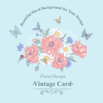 Summer vintage floral bouquet. greeting card with blooming red poppies chamomile ladybird daisies cornflowers bumblebee bee and blue butterflies