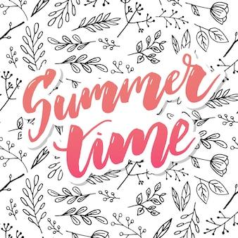咲くアジサイと庭の花と夏のビンテージ花グリーティングカード