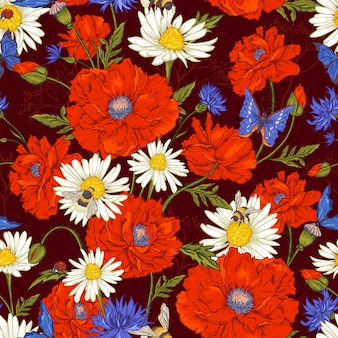 Summer vintage floral seamless pattern with blooming red poppies chamomile ladybird and daisies cornflowers bumblebee bee and blue butterflies