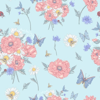 Summer vintage floral seamless pattern with blooming red poppies chamomile ladybird and daisies cornflowers bumblebee bee and blue butterflies.
