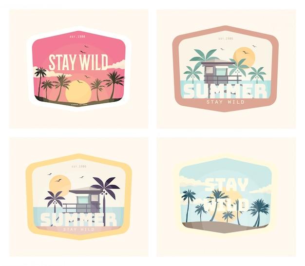 Summer vintage illustration design set
