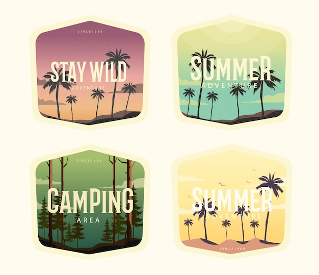 Summer vintage illustration set