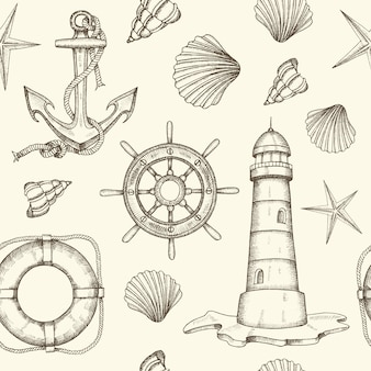 Summer vintage nautical seamless pattern