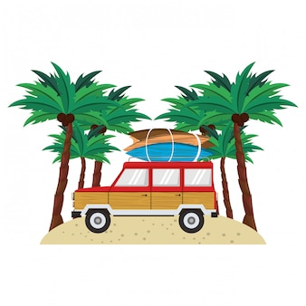 Summer vitnage van with surf tables in the beach cartoon