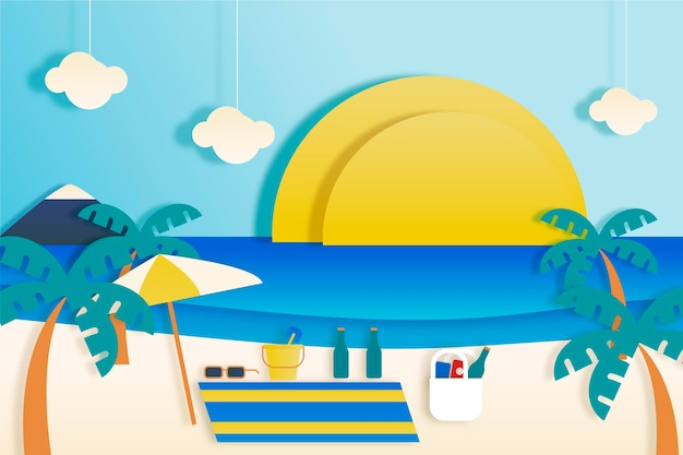 Summer wallpaper in paper style concept