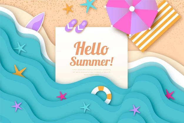 Summer wallpaper in paper style