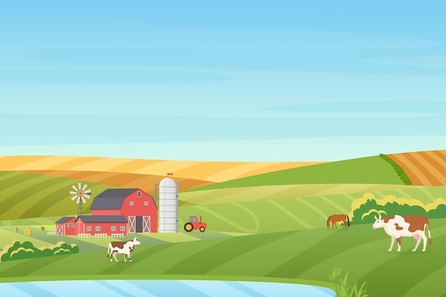 Summer warm weather farm coutryside landscape with eco cottage, barn, windmill, tractor, silage tower, cow, horse, green and orange fields near the blue clean lake   illustration