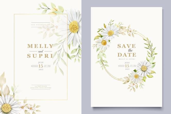 Summer watercolor chrysanthemum flower card set