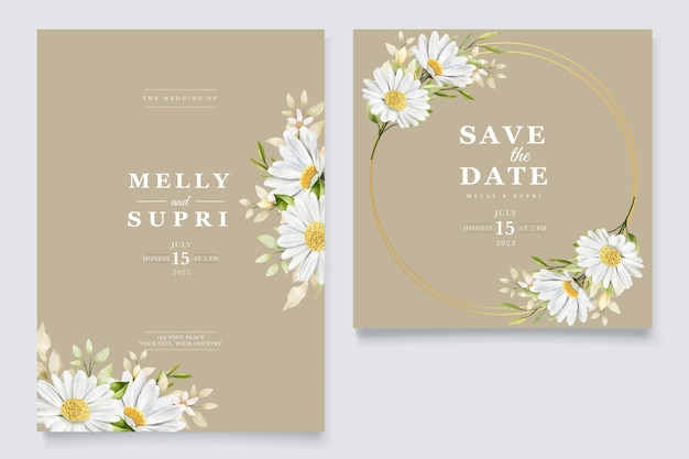 여름 수채화 국화 꽃 카드 세트