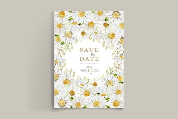 여름 수채화 국화 꽃 카드