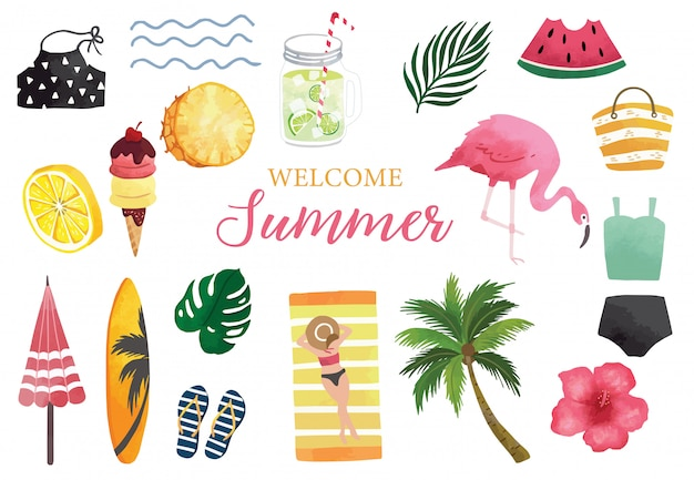Summer watercolor collection with watermelon, lemon, flamingo and ice creme.