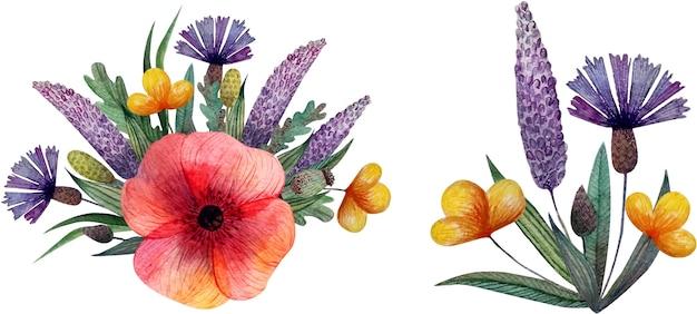 Летние акварельные композиции букеты из полевых цветов