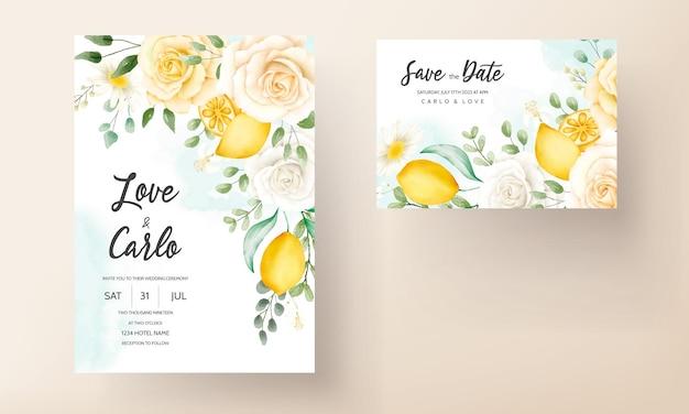 Acquerello estivo floreale con set di carte di nozze di frutta botanica al limone
