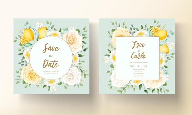 ボタニカル レモン フルーツ ウェディング カード セットと夏の水彩花柄