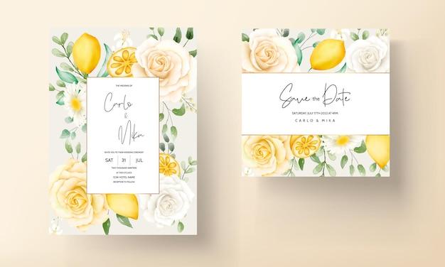 Летний акварельный цветочный набор свадебных открыток с ботаническими лимонными фруктами