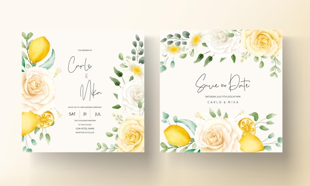 Summer watercolor floral with botanical lemon fruit wedding card