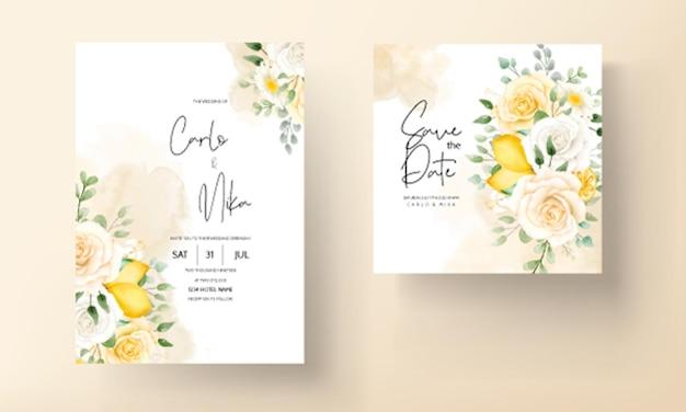 Acquerello estivo floreale con carta di nozze di frutta botanica al limone Vettore gratuito