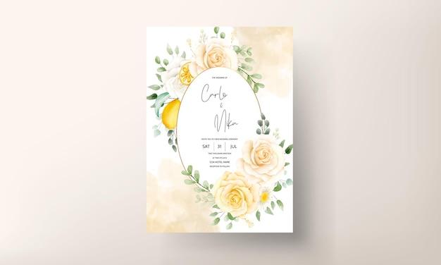 Acquerello estivo floreale con carta di nozze di frutta botanica al limone
