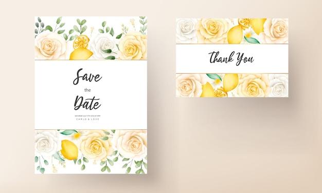 植物のレモン フルーツのウェディング カードと夏の水彩花柄
