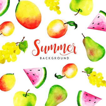 Summer Watercolor Fruits Multipurpose Background