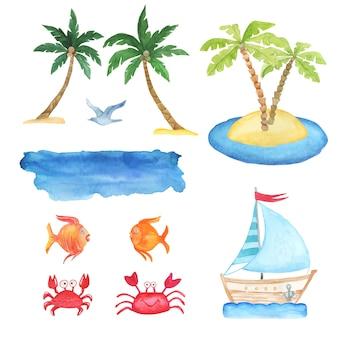 Летний акварельный набор с пальмами, рыбой, крабовой иллюстрацией