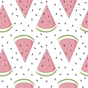 여름 수박 배경입니다. 배경, 웹, 벽지, 포장지 및 질감을 위한 달콤한 과일 웨지 반복 장식