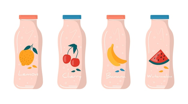 Summer watermelon, lemon, banana, cherry juice in bottle icon with fruits and berries. vegan fruit and healthy detox cocktails. drinks, vitamin ice shakes for juice bar. vector trendy.