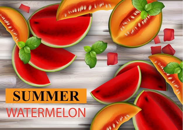 Summer watermelon and melon
