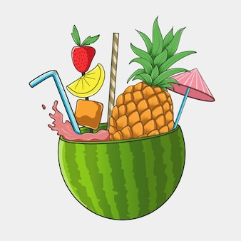 Summer watermelon strawberry pineapple ice juice vector