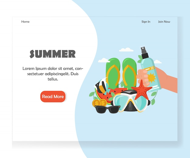Summer website landing page design template