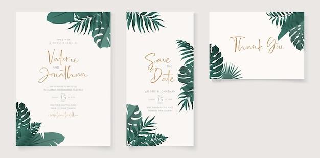 열대 잎 테마로 여름 웨딩 카드 디자인 프리미엄 벡터
