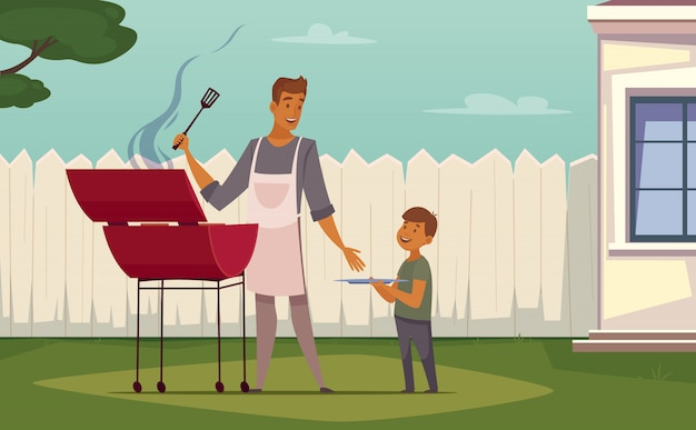 Summer weekend barbecue on patio lawn retro cartoon poster with bbq grill father