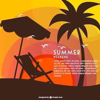 해먹과 야자수 여름 주말 카드